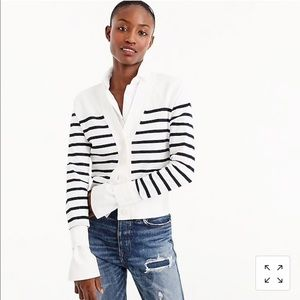 J Crew Cropped Lightweight Cardigan In Stripe